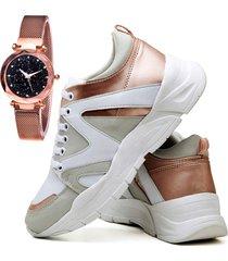 tênis sapatênis plataforma fashion metalizado com relógio gold dubuy 737el