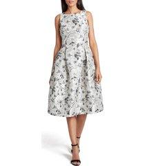 women's tahari metallic jacquard fit & flare sleeveless dress