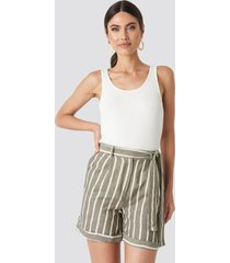 trendyol striped tulum linen shorts - green