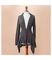 cotton blend cardigan, 'graphite feminine enchantment' (peru)