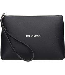 balenciaga cash handle clutch in black leather