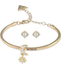 guess gold-tone crystal star & moon bangle bracelet & stud earrings set