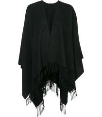 rag & bone tassel hem poncho - black