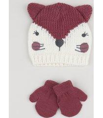 kit infantil de gorro de tricô raposa + luva vinho