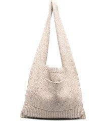 joseph tweed knit shoulder bag - neutrals