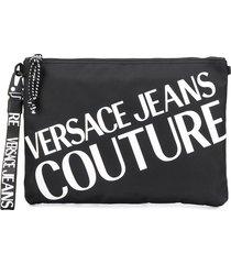 versace jeans couture contrast logo clutch - black