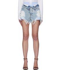 flipped waist layered shorts