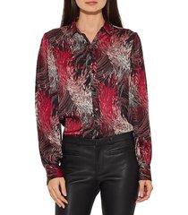 equipment women's danton print shirt - black print - size xs
