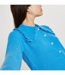 river island womens blue frill collar embellished button cardigan