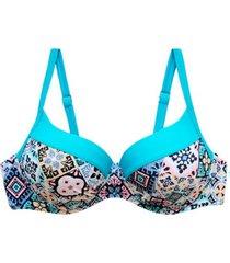 bikini estilo sostén copa c-d estampado turquesa samia
