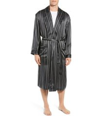 men's majestic international fresh ink stripe silk robe, size small/medium - black