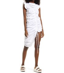 amy lynn cowl neck ruched dress, size large in white at nordstrom