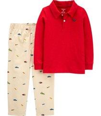 carter's baby boy 2-piece slub jersey polo & schiffli pant set