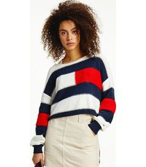 tommy hilfiger women's organic cotton ribbed flag sweater snow white / multi - s