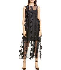 women's paskal laser cut dot organza midi dress