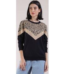 blusão de moletom feminino com recorte animal print onça decote redondo preto