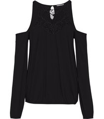 maglia con cut-out e inserto a uncinetto (nero) - bodyflirt boutique