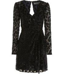 self-portrait devore leopard mini dress