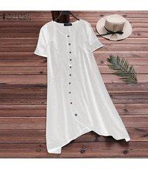 zanzea mujeres de cuello redondo manga corta de botones camisa con tapas largas del mini vestido -blanco
