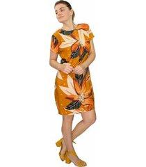 vestido modisch viscose estampa floral decote costa casual - feminino