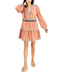 inc petite contrast-trim peasant dress, created for macy's