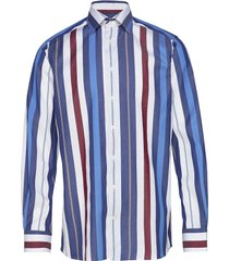 bold striped tencel shirt - contemporary fit overhemd casual blauw eton