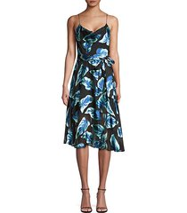 heather cowl-neck floral midi dress