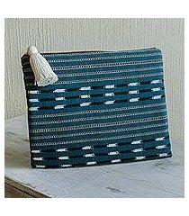 cotton cosmetic bag, 'panajachel waters' (guatemala)