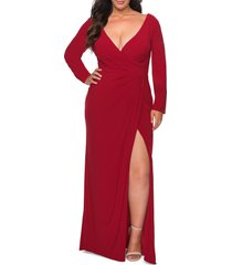 plus size women's la femme long sleeve faux wrap gown, size 20w - red