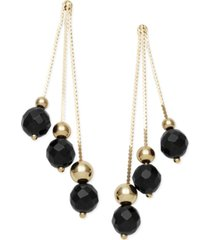 14k gold earrings, faceted onyx 3-drop earrings (9 ct. t.w.)