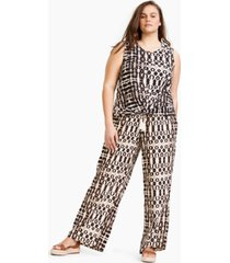 inc plus size cotton printed twisted-hem top, created for macy's