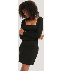 na-kd party bodycon square neck dress - black