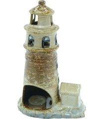 porta vela de cerâmica farol 16x11x8cm