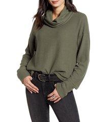 women's treasure & bond cowl neck pullover, size small - green