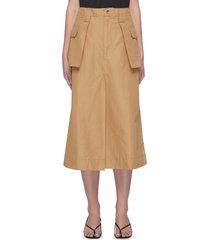 patch pocket flare organic cotton linen blend a-line skirt