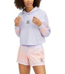 puma women's tie-dyed mesh-trimmed hoodie