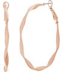 catherine malandrino women's polished twisted rose gold-tone hoop earrings