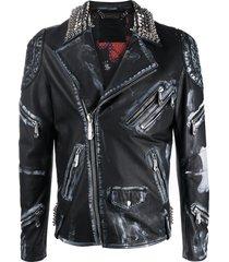 philipp plein distressed-look moto jacket - black