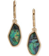 anne klein gold-tone abalone look drop earrings