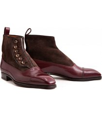 handmade formal men button boot, men burgundy ankle cap toe boot, men boot