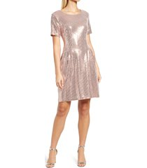 caxlz by connected apparel kym sequin fit & flare cocktail dress, size 8 in rosegold at nordstrom
