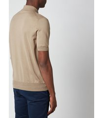 canali men's suede trim polo shirt - khaki - it 54/xxl