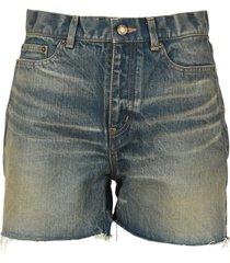 saint laurent raw-edge denim shorts