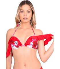 bikini sostén con vuelos estampado rojo samia