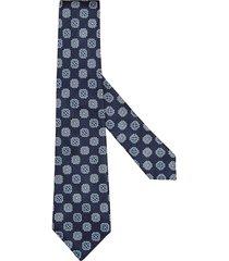 ermenegildo zegna floral-print silk tie - blue