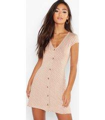 petite cap sleeve button polka dot shift dress, camel