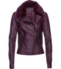 giacca in similpelle con collo in ecopelliccia (viola) - bpc selection