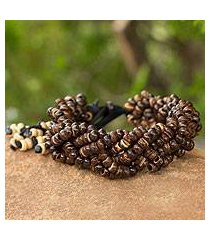 coconut shell braided bracelet, 'nutmeg forest' (thailand)