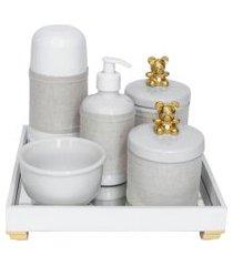 kit higiene espelho completo porcelanas, garrafa pequena e capa ursinho dourado quarto bebê unissex