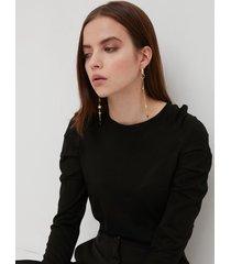 motivi maglia con maniche arricciate donna nero